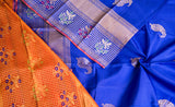 Royal Blue & Peach Pure Kanchipuram Handloom Silk Saree