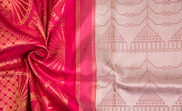 Folklore Handloom Silk Saree in Threadwork