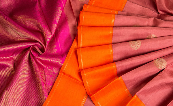 Onion Pink & Orange Pure Kanchipuram Handloom Silk Saree