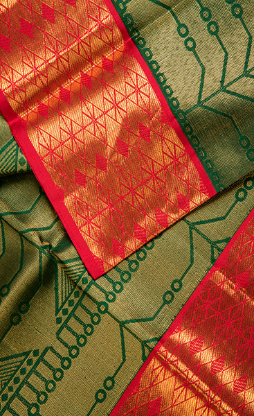 Dark Green Folklore Handloom Silk Saree