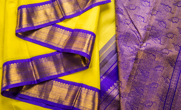 Yellow & Purple Pure Kanchipuram Handloom Silk Saree With 1G Zari