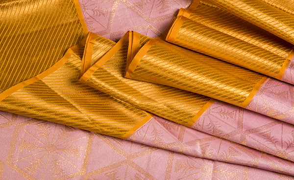 Peach Folklore Handloom Silk Saree