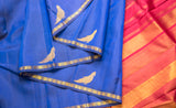 Dusky Blue & Maroon Pure Kanchipuram Handloom Silk Saree With 1G Zari