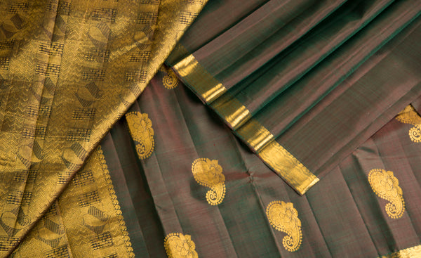 Dark Brown Pure Kanchipuram Handloom Silk Saree With Half-Fine Zari