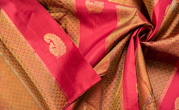 Borderless Mustard and Red kanchipuram Silk Saree