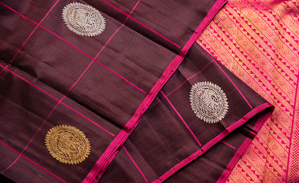 Borderless Magenta Kanchipuram Silk Saree