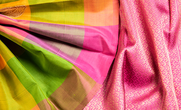 Multicolored Checked Kanchipuram Silk Saree