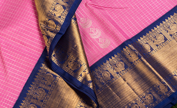Dark Pink Kanchipuram Silk Saree with Contrast Border