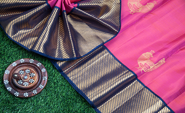 Fuscia Pink Kanchipuram Silk Saree with Zari Checks