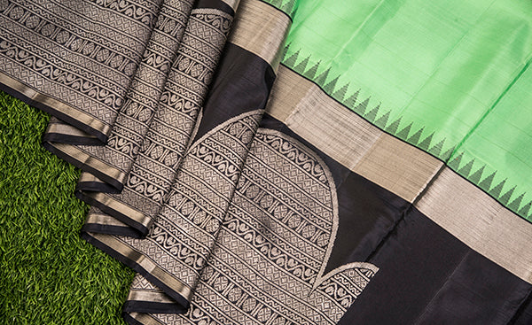 Mint Green Kanchipuram Silk Saree with Black Border
