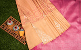 Cantaloupe Orange Kanchipuram Silk Saree