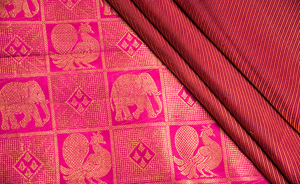 Thread Embossed Carmine Red Kanchipuram Silk Saree