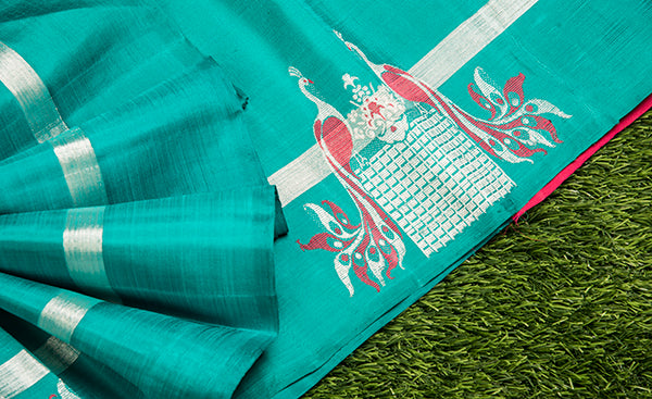 Teal Blue Kanchipuram Silk Saree