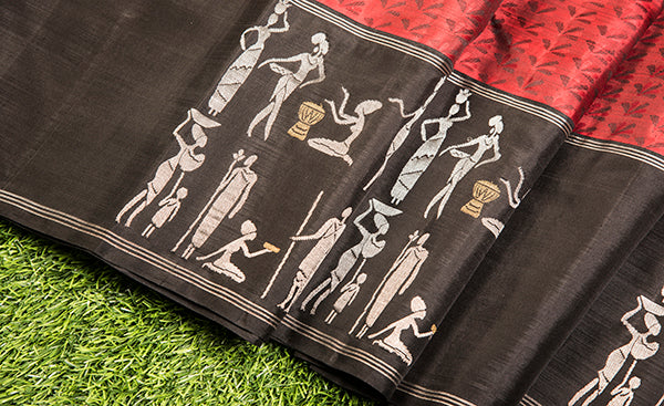 Maroon Kanchipuram Silk Saree with Warli Patterns