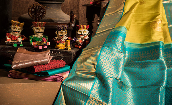 Pear Green Folklore Silk Saree