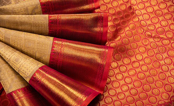 Beige Folklore Silk Saree - Handloom Silk Saree