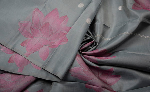 Borderless Grey Kanchipuram Silk Saree