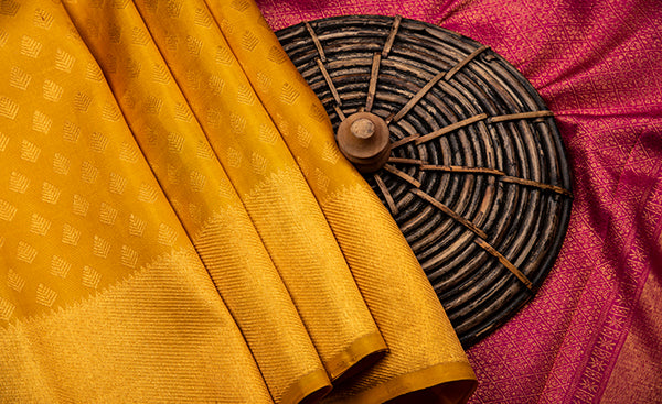 Yellow Kanchipuram Bridal Silk Saree