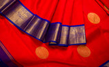 Red & Blue Pure Kanchipuram Handloom Silk Saree With Pure Zari