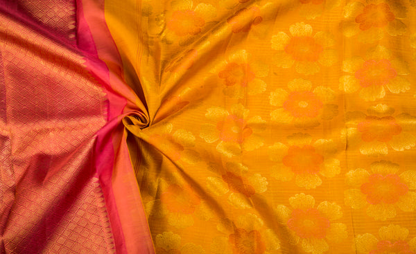 Turmeric Yellow Pure Kanchipuram Handloom Silk Saree With Half Fine Zari