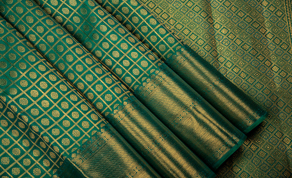 Teal Green Bridal Kanchipuram Silk Saree