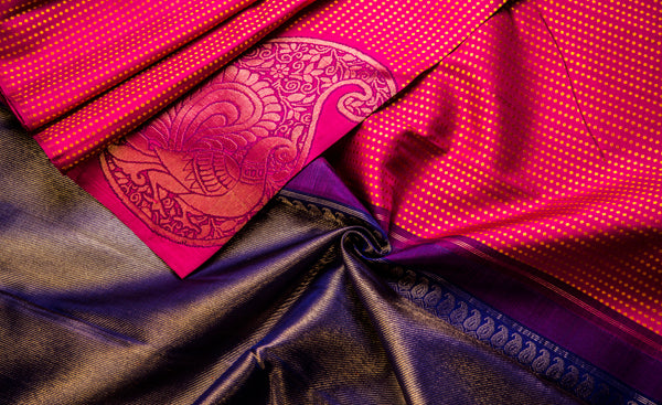 Dark Pink & Blue Pure Kanchipuram Handloom Silk Saree With Half Fine Zari