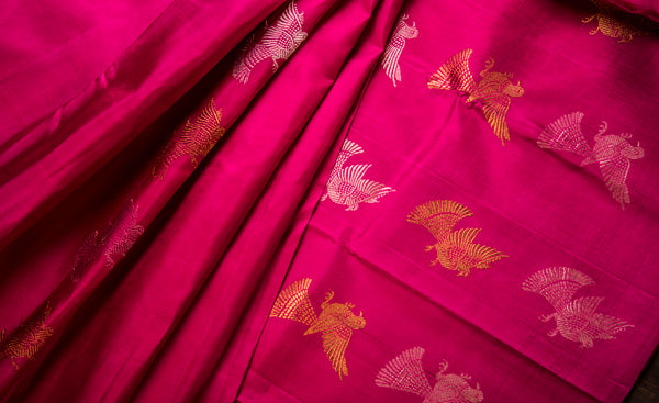 Dark Pink Pure Kanchipuram Handloom Silk Saree With Pure Zari
