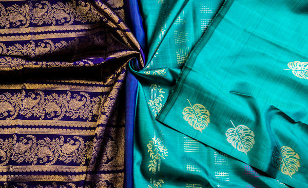 Turquoise Blue & Dark Pure Kanchipuram Handloom Silk Saree With Half Fine Zari