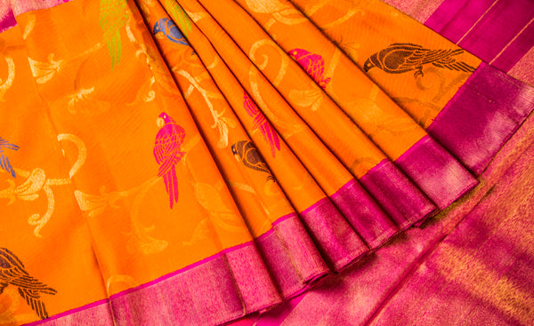 Orange & Pink Pure Kanchipuram Handloom Silk Saree With Pure Zari