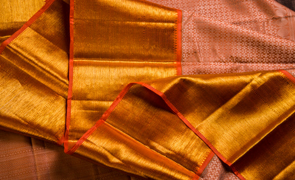 Orange Pure Kanchipuram Handloom Silk Saree With 1G Zari