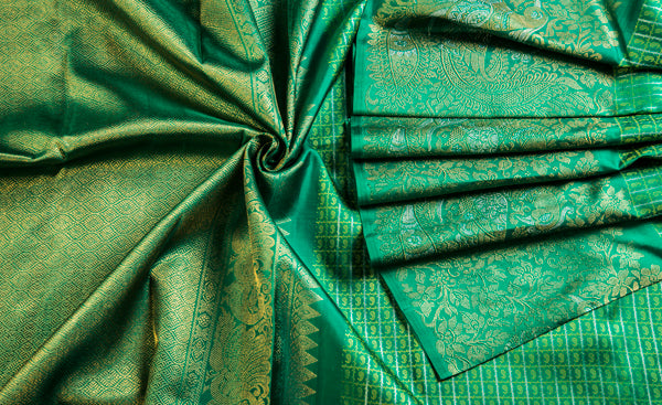 Teal Green Pure Kanchipuram Handloom Silk Saree With Pure Zari