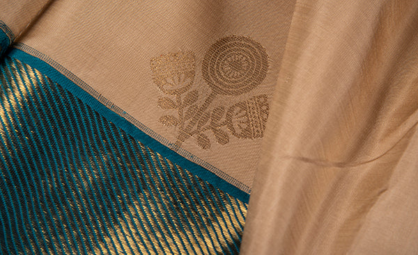 Cream & Teal Blue Pure Kanchipuram Handloom Silk Saree