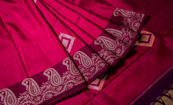 Pink & Purple Pure Kanchipuram Handloom Silk Saree With Pure Zari