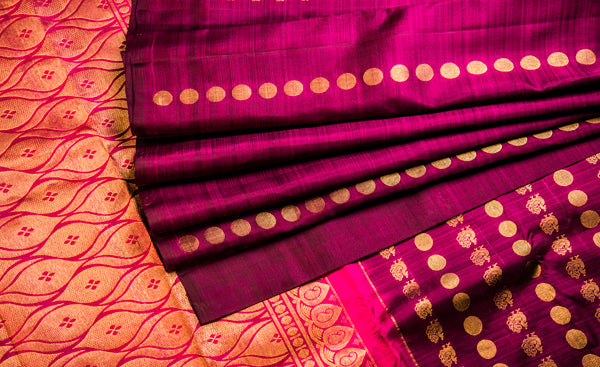 Burgandy & Purple Pure Kanchipuram Handloom Silk Saree With 1G Zari