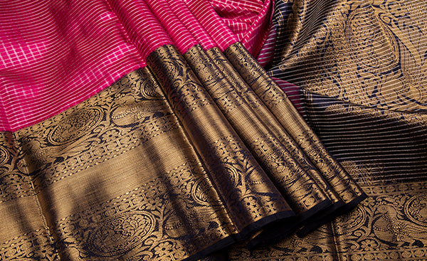 Dark Pink Bridal Kanchipuram Silk Saree