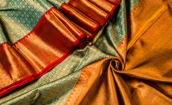 Teal Green & Red Pure Kanchipuram Handloom Silk With Pure Zari