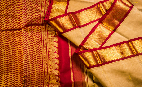 Off White & Maroon Pure Kanchipuram Handloom Silk Saree with Pure Zari