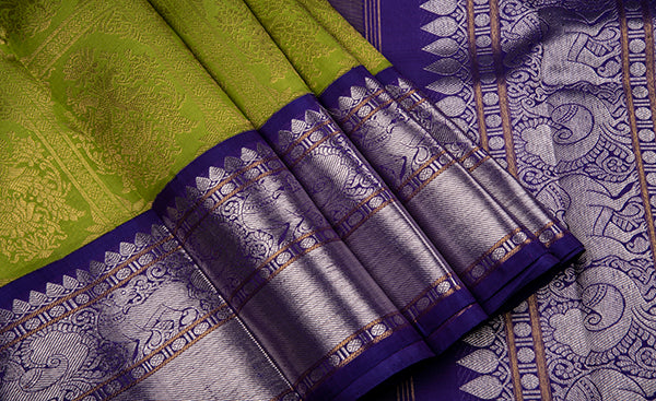 Parrot Green Bridal Kanchipuram Silk Saree