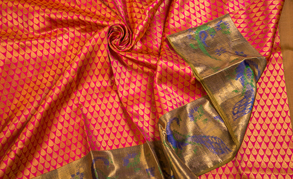 Hot Pink Pure Kanchipuram Handloom Silk Sari With Pure Zari