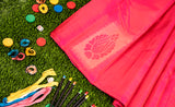 Pink Kanchipuram Silk Saree with Neem Zari
