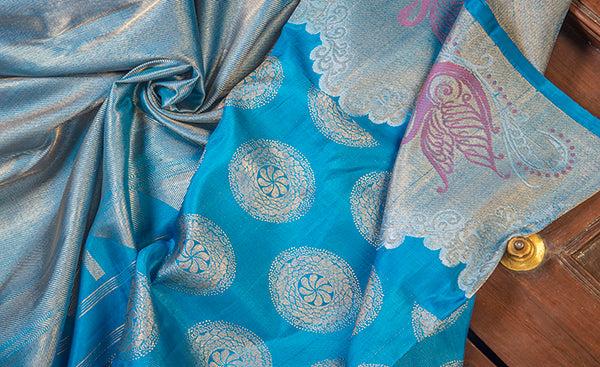 Turquoise Blue Pure Kanchipuram Handloom Silk Sari With Pure Zari