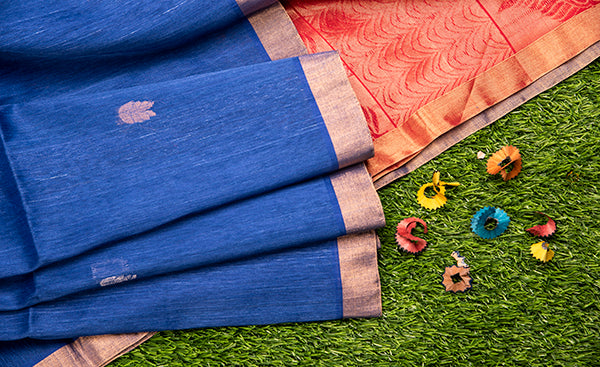 Dark Blue Kora Silk Saree