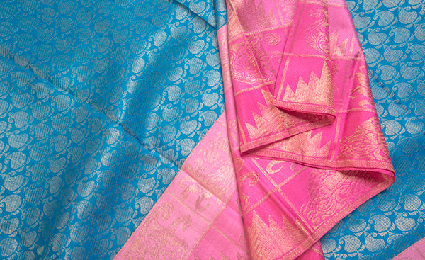 Blue & Pink Pure Kanchipuram Handloom Silk Saree With Pure Zari