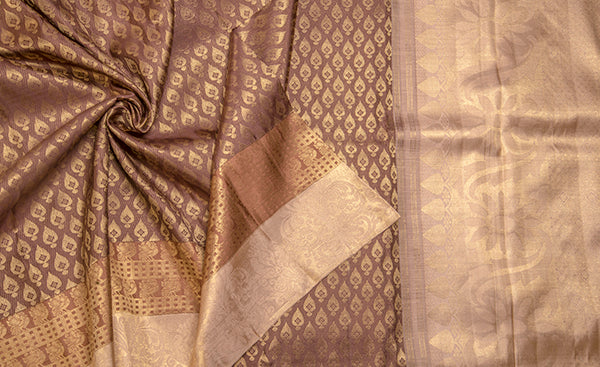 391b93cb7f Coffee Brown & Beige Pure Kanchipuram Handloom Silk Saree With Pure Za –  Palam Silks