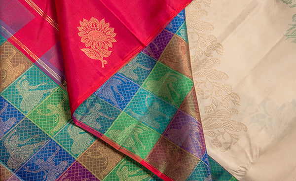 Beige Pure Kanchipuram Handloom Silk Saree With Multicoloured Pallu