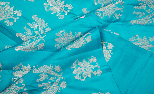 Turquoise Blue Pure Kanchipuram Handloom Silk Saree