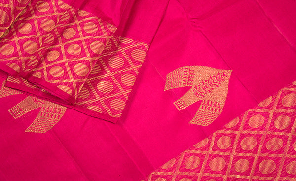 Hot Pink Pure Kanchipuram Handloom Silk Saree