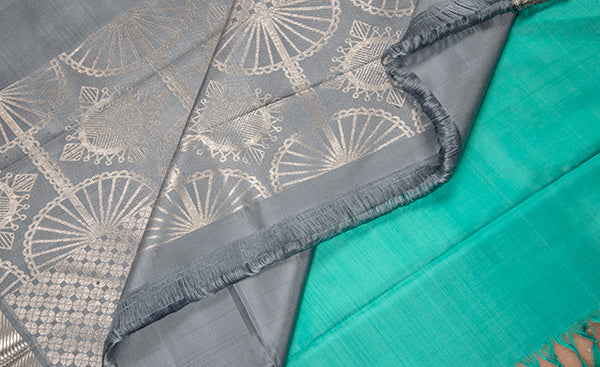 Coral Green & Soft Grey Pure Kanchipuram Handloom Silk Saree