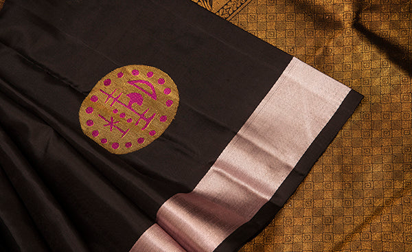 Black kanchipuram silk saree with silver silk thread border