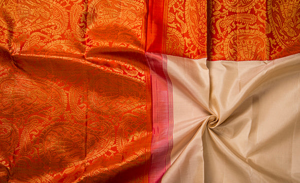 Beige & Red Pure Kanchipuram Handloom Silk Saree